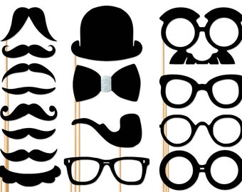 Handsome Photo Booth Props - 16 Piece Set - Wedding Photobooth Props - Birthday - Party