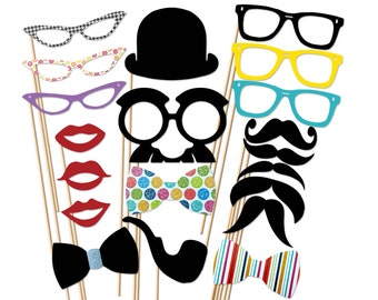 Wedding Photo Booth Props - 20 Piece Party Set On a stick - Birthday Photobooth Props