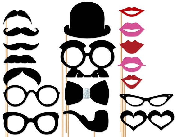 photo booth les accessoires sur un stick 18 pces mariages. Black Bedroom Furniture Sets. Home Design Ideas