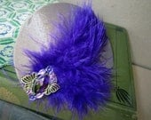Amethyst Colored Gem on Bronze fabric with Royal Purple Feathers Hair Clip