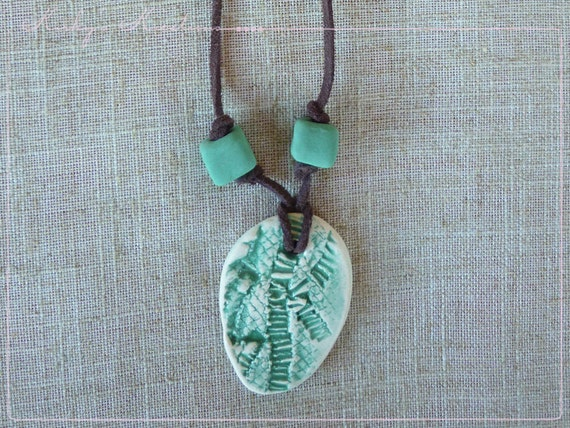 Porcelain 'Green Envy' Beaded Pendant Ceramic Necklace