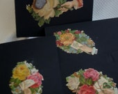Paper Goods - Note Cards -Goth - SteamPunk - Black -Vintage - Victorian Note Cards-  Flower Bouquets