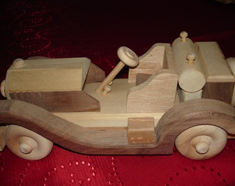 Handmade - Toy Wooden Car - Roadster 1930 Model - Children Toy - Pretend Play- Natural Hardwood