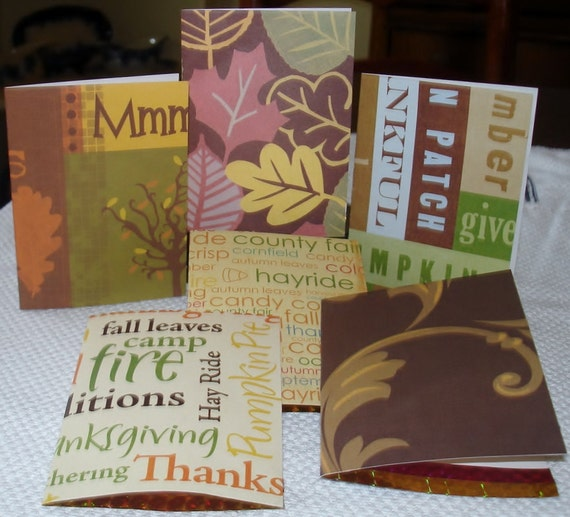 Paper Goods Hand Made ( 6 ) Six Fall/Autumn Note Cards w Pumpkins,Thanks, Leaves