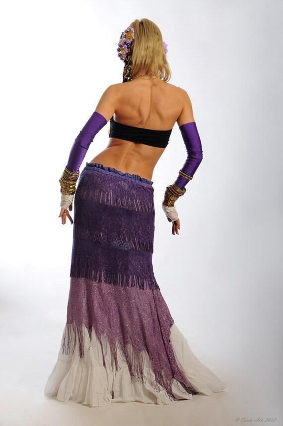 Belly Dance Skirt Tribal Belly Dance Skirt Gypsy Skirt Tribal Fusion Skirt Burlesque Skirt Vintage Purple Mermaid Fringe
