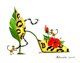 Monkey Leopard Hibiscus Flower Shoe Print - Enhanced with Watercolor Paint and Signed - Free Shipping