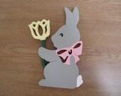 Handpainted wood bunny