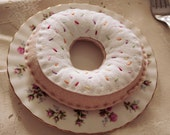 White Vanilla Iced Sprinkle Felt Donut Pincushion or Plush