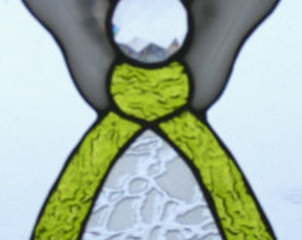 Stained Glass Angel - Yellow Green