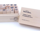 Natural Cute Stamp Set(14 stamps in wooden box)