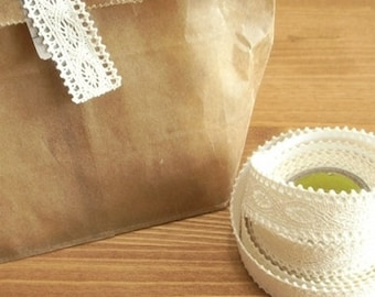 Adhesive Natural  Lace Fabric Roll Tape Beige 09