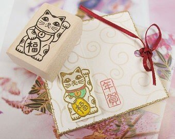 Bring The Luck Cat Maneki Neko(M) Rubber Stamp ver.2