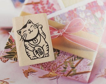Bring The Luck Cat Maneki Neko(M) Rubber Stamp