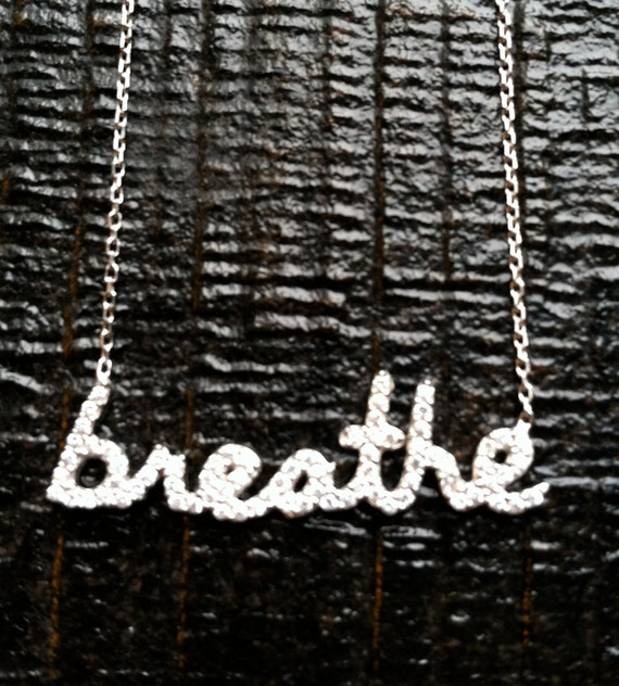 Breathe Necklace, Delicate necklace, Cubic Zirconia and sterling silver necklace