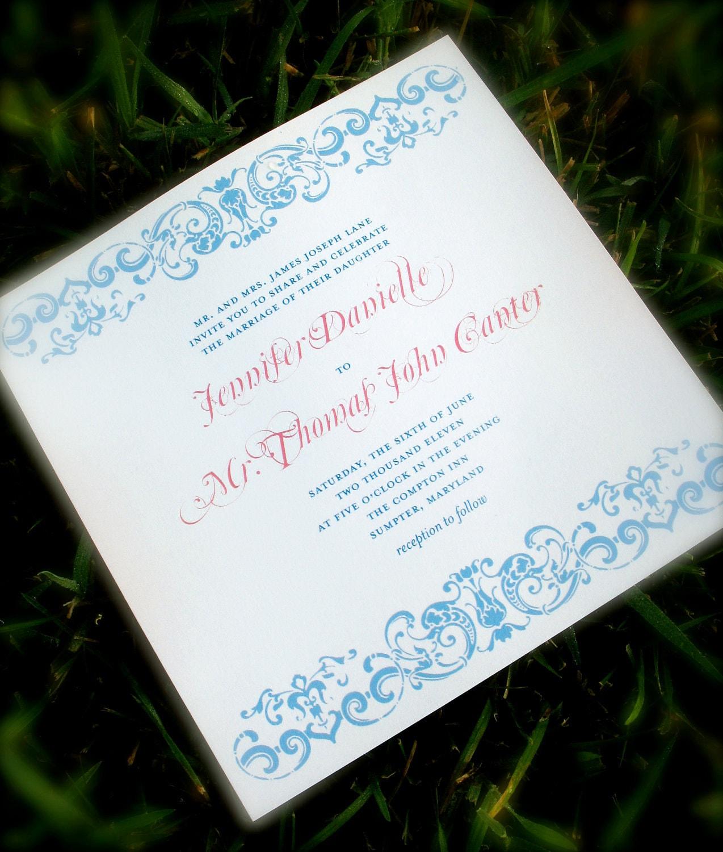 Printable Wedding Invitation Package Vintage Illustration Square Pompdesigns