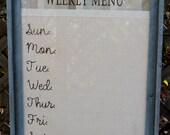 Weekly Menu Board, Framed Dry Erase Board (Custom Order: N.Andrews)