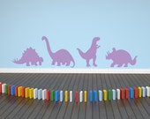 "Dinosaur Decal Children's Decor - Set of Four 8""x 8"" Dinosaur Vinyl Wall Decals"