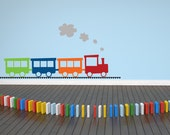 Train Decal Set with Tracks - Kids Wall Art - Kids Wall Decal