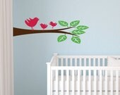 Child Decor - Tree Branch and Birds Wall Decals  - Kids Vinyl Wall Art
