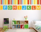 "ABC Decal -  Alphabet Decal Set  - 26 Alphabet Wall Decals - 12"" x 12"""