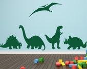 Dinosaur Decal Children's Decor - Set of Five Large Dinosaur Vinyl Wall Decals