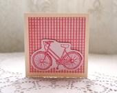 Handmade Pink Girls Vintage Bike Card. Mini Blank Card.