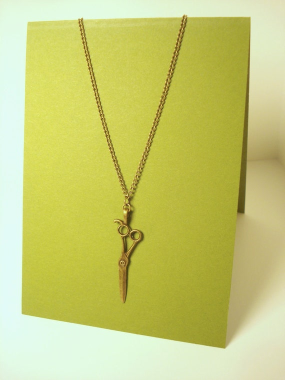 Bronze Scissors Necklace