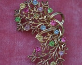 Beautiful Vintage Pastel Rhinestones Pin Brooch Gold Tone Branch