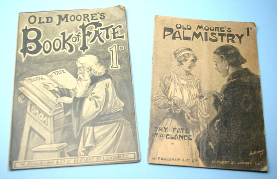 Antique Old Vintage Old Moore's  Hand of Fate and Palmistry paper back books pamphlets