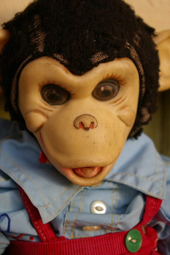 Creepy Cute Antique Vintage Zippy Dressed Monkey Chimp Doll Plush Stuffed Animal Toy