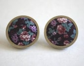 Fabric Midnight Rose on Plum Big Button Earrings
