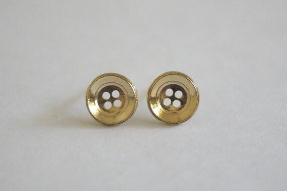 Mod Gold Button Earrings