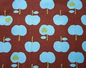 Kokko Japanese Fabric Sweet Blue Apples on Chocolate Brown Cotton Canvas