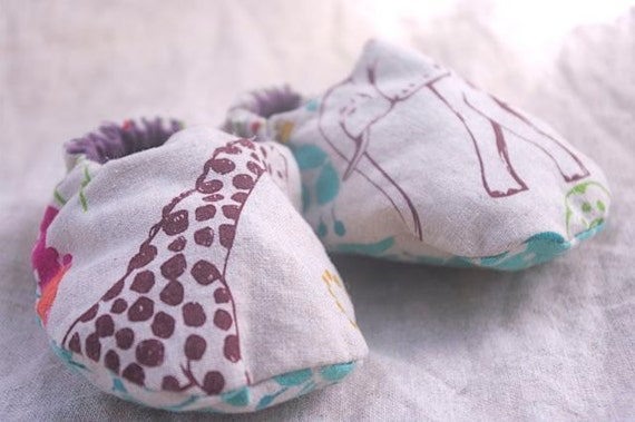 Elephant and Giraffe Infant Slippers 6 to 9 Months OOAK Ready to Ship