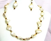 Pearl Nugget and Smokey Topaz Necklace Set
