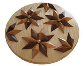 Round Wooden Cooling Rack.  Dimensional raised diamond pattern.