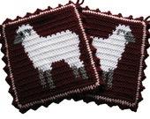 Lamb Pot Holders. Crochet potholders with white sheep. Farm animal decor