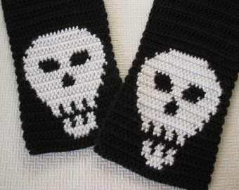 Skull Scarf. Black, crochet scarf with white skulls for men. Goth scarf