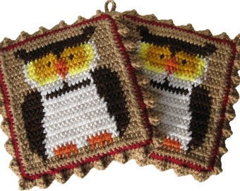 Owl Pot Holders.  Double thick crocheted potholders with owls.