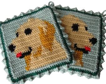 Golden Retriever Pot Holders.  Thick animal crochet potholder set.