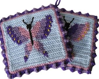 Purple Butterfly Potholders.  Crochet butterflies pot holders.  Butterfly decor.