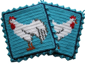 Chicken Pot Holder Set. Turquoise color crochet rooster potholders. White roosters