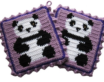 Panda Bear Pot Holders.  Thick, purple, crochet potholders with pandas. Animal trivet