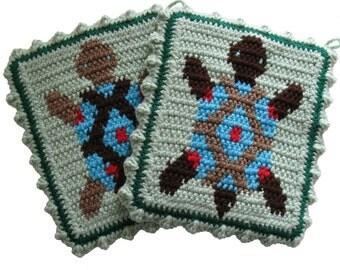 Turtle Pot Holders. Thick crochet potholders. Southwest kitchen decor