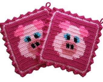 Pink Pig Pot Holders. Bright pink double thick piggy potholders. Crochet animal potholders. Farm decor