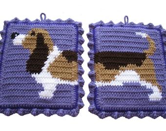 Basset Hound Potholders. Crochet pot holders with basset dog. Dog decor