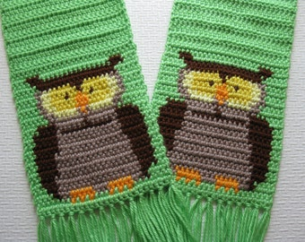 Owl Scarf. Limelight green crochet scarf with brown owls. Animal scarf.