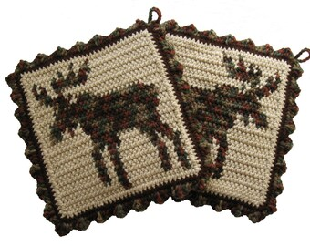 Bull Moose Pot Holders.  Rustic, woodland moose crochet potholders. Moose kitchen decor