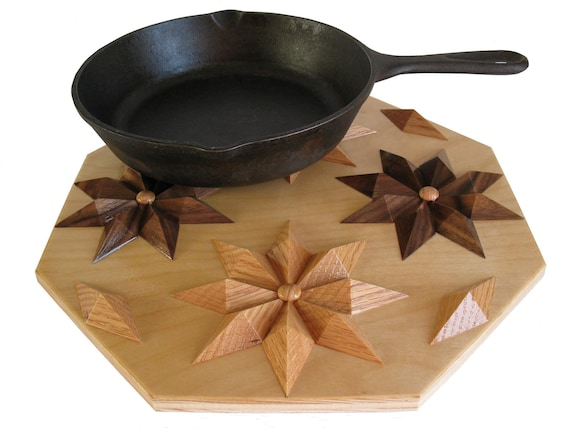 Wooden Hot Pad.  Home decor, kitchen wood trivet with flowers.