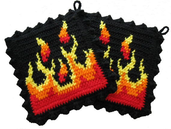 Flame Pot Holders.  Black potholders with yellow, orange, and red flames.